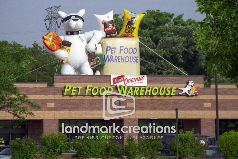 pet food warehouse inflatable dog mascot for rooftop. Black Bedroom Furniture Sets. Home Design Ideas