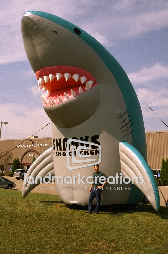 Inflatable standing shark mascot for shark 39 s fish chicken for Sharks fish and chicken near me
