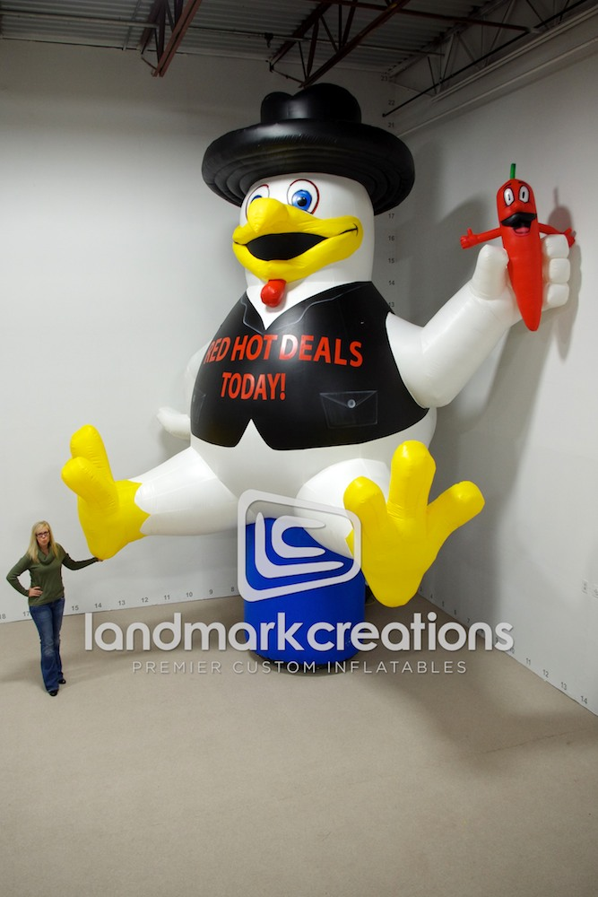 Royal Farms Inflatable Chicken Mascot Yellow