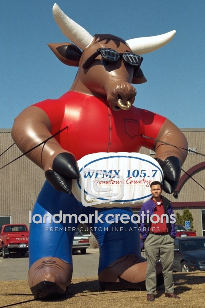 Radio Station Wfmx 105 7 Fm Kbull Inflatable Mascot