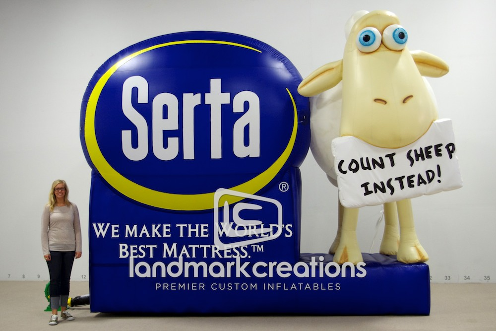 Serta Counting Sheep Mascot And Billboard Inflatable