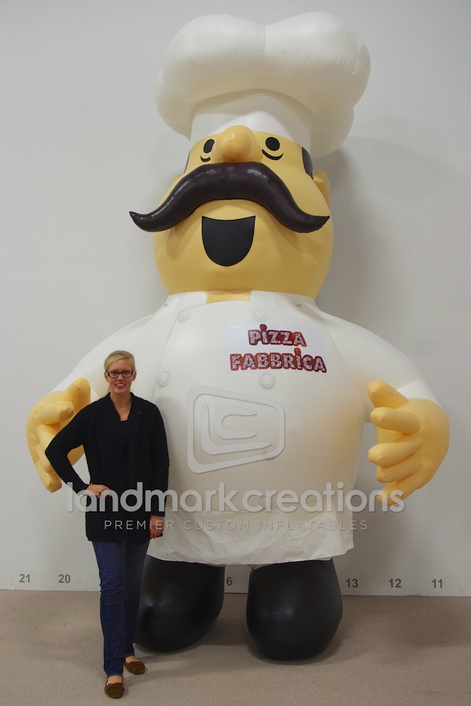 pizza fabbricas inflatable pizza chef character for