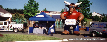 WFMX Inflatable Bull Mascot at Radio Remote Event