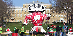 Inflatable Bucky Badger Mascot at University of Wisconsin, Madison Alumni Event