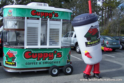Cuppy's Coffee Inflatable Coffee Cup Costume at Retail Location