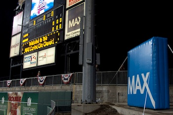 Max Credit Union's Inflatable Billboard at Baseball Game