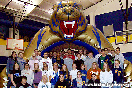 Students with Leonard's Inflatable Tiger Sports Tunnel