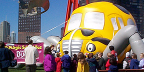 Inflatable Magic School Bus at Community Event