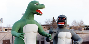 Inflatable Dinosaur and Gorilla