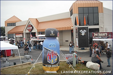 Manhattan Oil Inflatable Product Replica Displayed at Harley Davidson Motorcycle Dealership