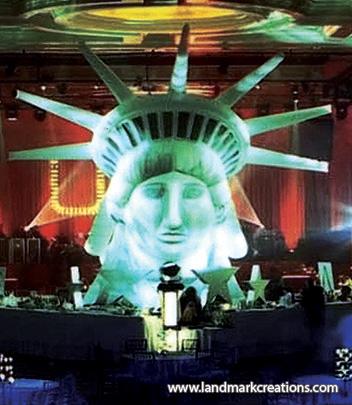 Inflatable Statue of Liberty Head at AOL's Holiday Party