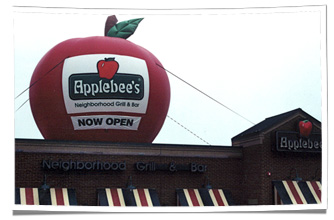 Inflatable Applebee's Logo on Restaurant Rooftop