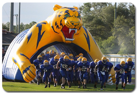 Bay High School's Inflatable Tiger Sports Tunnel at Football Game