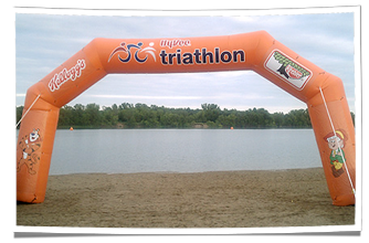 Hy-Vee's Inflatable Start Arch at Triathlon Event