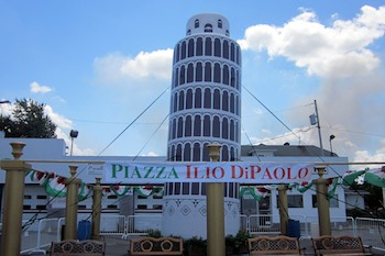 Inflatable Tower of Pisa at The Italian Heritage Festival in New York