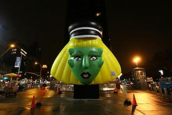 Lady Gaga Inflatable Promoting Barneys New York in Uptown Manhattan