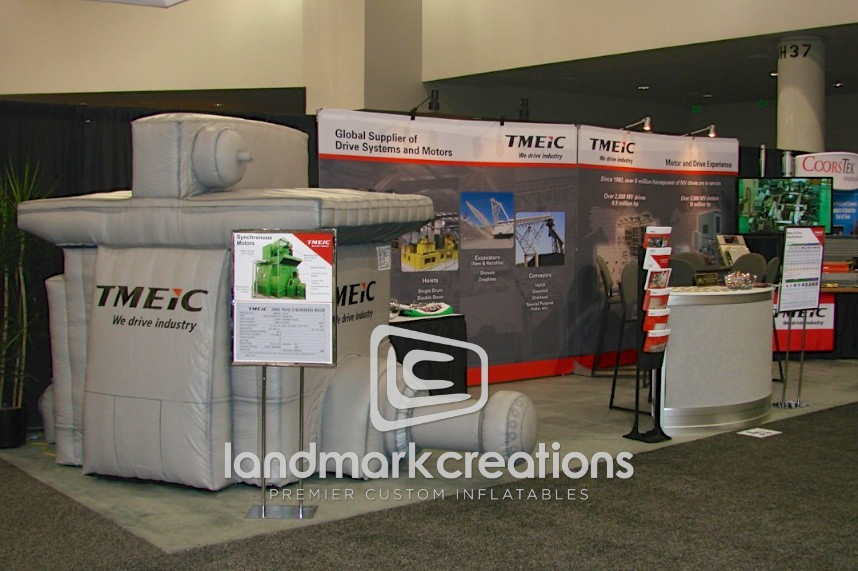 TMEIC Inflatable Motor Replica at Trade Show