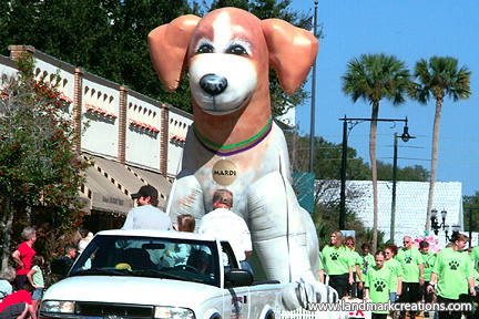 Inflatable Mardi Dog on Parade Float