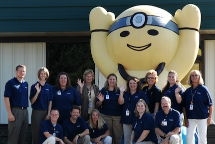 Ashley Furniture's Inflatable Doctor Mascot at Clinic Grand Opening