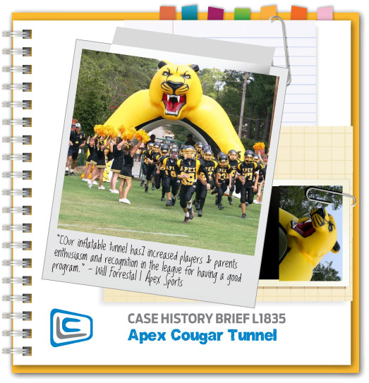 Inflatable Cougar Tunnel at Youth Football Game
